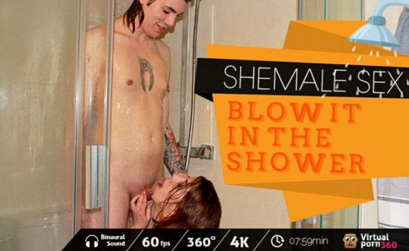 Shemale Sex: Blow it in the shower